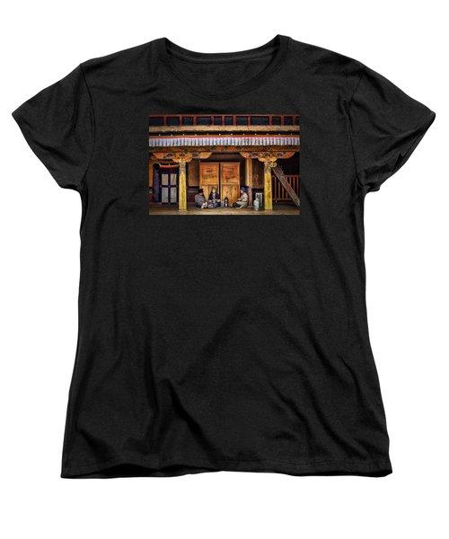 Yak Butter Tea Break At The Potala Palace Women's T-Shirt (Standard Cut) by Joan Carroll