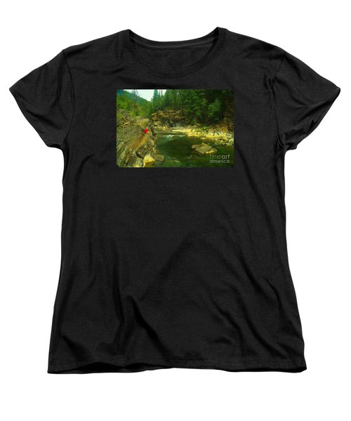 Cliff Over The Yak River Women's T-Shirt (Standard Cut) by Jeff Swan
