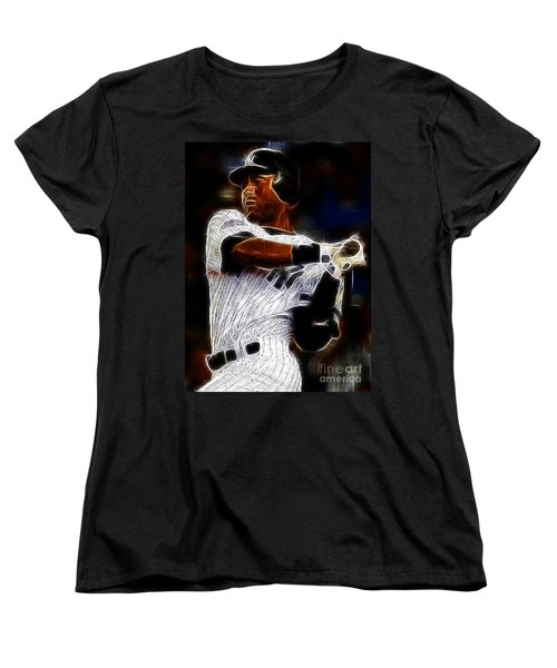 Derek Jeter New York Yankee Women's T-Shirt (Standard Cut) by Paul Ward