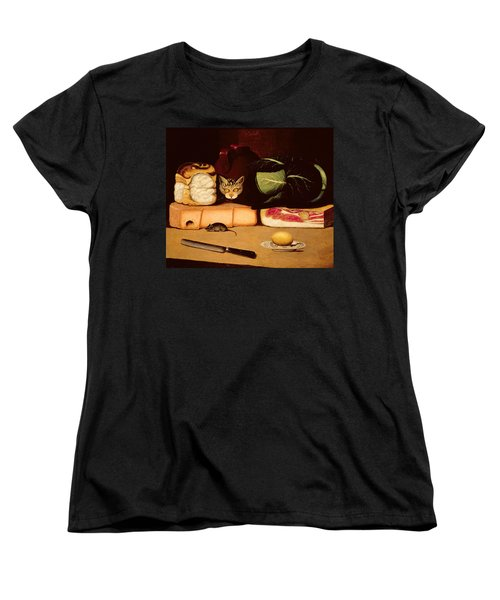 Still Life With Cat And Mouse Women's T-Shirt (Standard Cut) by Anonymous