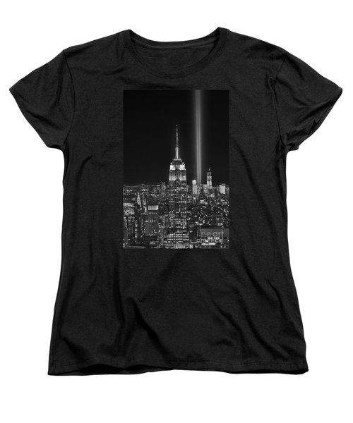 New York City Tribute In Lights Empire State Building Manhattan At Night Nyc Women's T-Shirt (Standard Cut) by Jon Holiday