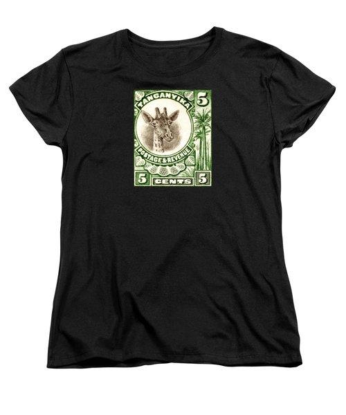 1922 East African Giraffe Stamp Women's T-Shirt (Standard Cut) by Historic Image