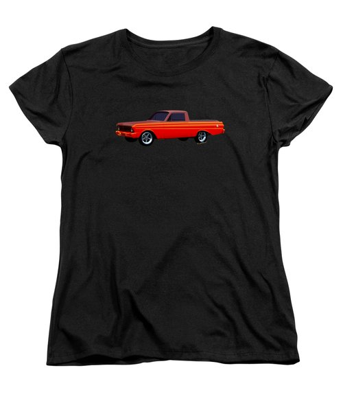 1965 Ford Falcon Ranchero Day At The Beach Women's T-Shirt (Standard Cut) by Chas Sinklier