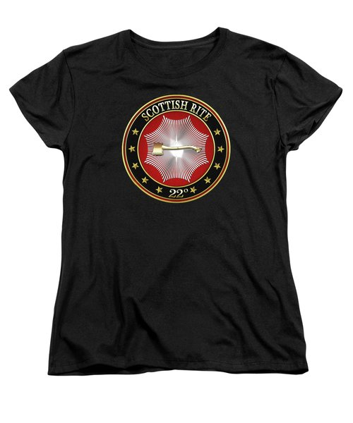 22nd Degree - Knight Of The Royal Axe Jewel On Black Leather Women's T-Shirt (Standard Cut) by Serge Averbukh