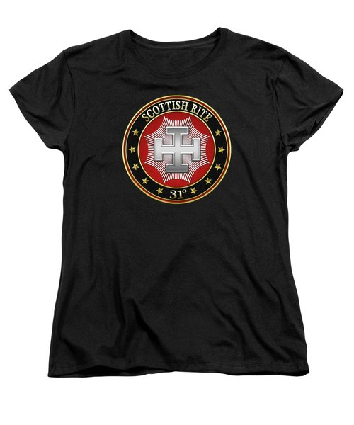 31st Degree - Inspector Inquisitor Jewel On Black Leather Women's T-Shirt (Standard Cut) by Serge Averbukh