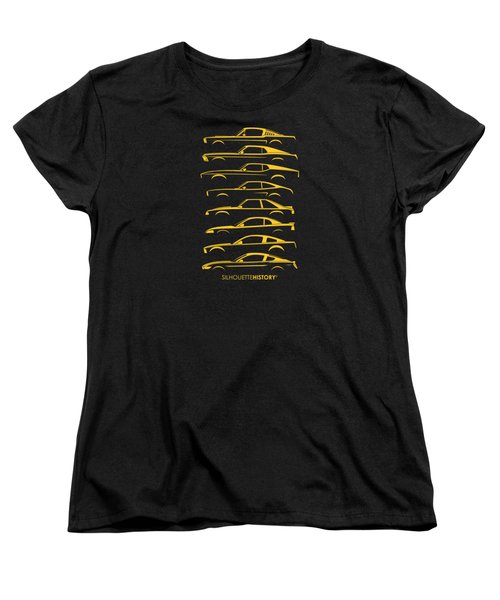 Ford Mustang Silhouettehistory Women's T-Shirt (Standard Cut) by Gabor Vida