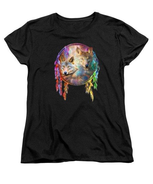 Dream Catcher - Wolf Spirits Women's T-Shirt (Standard Cut) by Carol Cavalaris