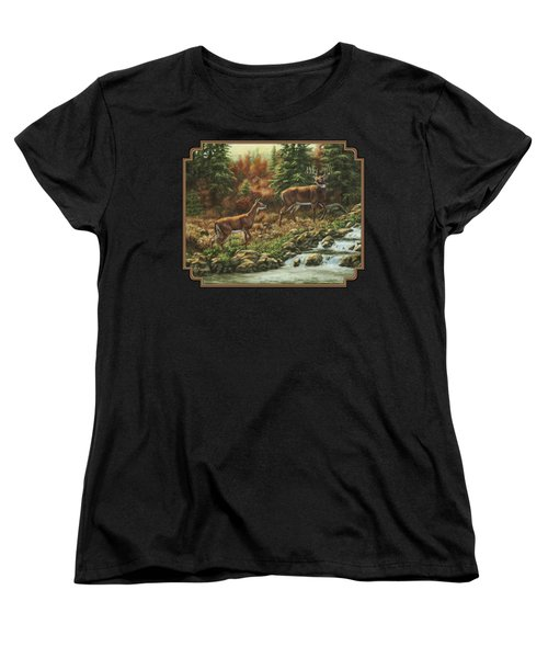Whitetail Deer - Follow Me Women's T-Shirt (Standard Cut) by Crista Forest