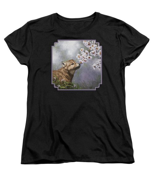 Wolf Pup - Baby Blossoms Women's T-Shirt (Standard Cut) by Crista Forest