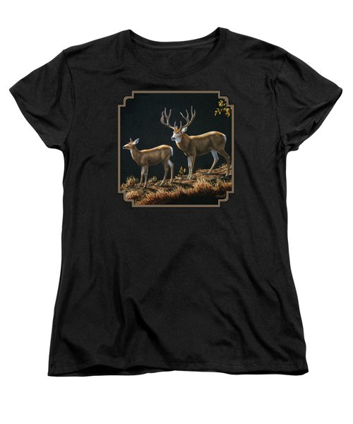 Mule Deer Ridge Women's T-Shirt (Standard Cut) by Crista Forest