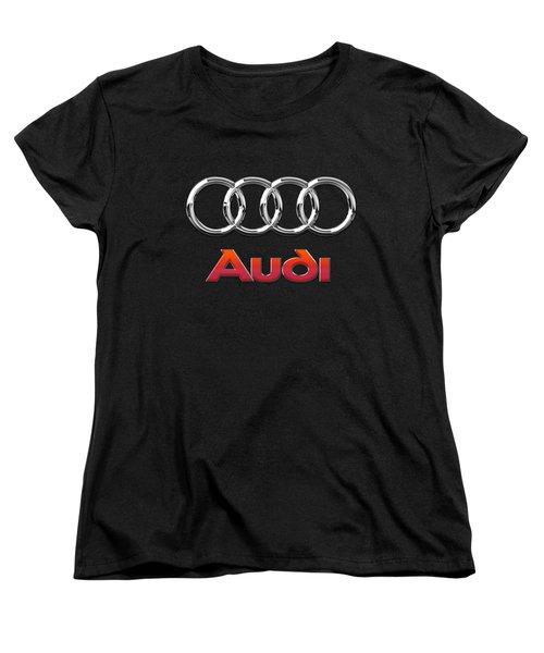 Audi 3 D Badge On Black Women's T-Shirt (Standard Cut) by Serge Averbukh