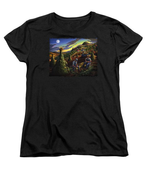 Autumn Farmers Shucking Corn Appalachian Rural Farm Country Harvesting Landscape - Harvest Folk Art Women's T-Shirt (Standard Cut) by Walt Curlee