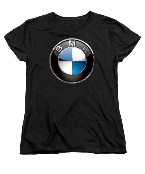 B M W - 3d Badge On Black Women's T-Shirt (Standard Cut) by Serge Averbukh