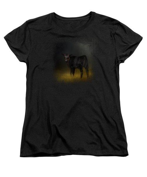 Black Angus Calf In The Moonlight Women's T-Shirt (Standard Cut) by Jai Johnson