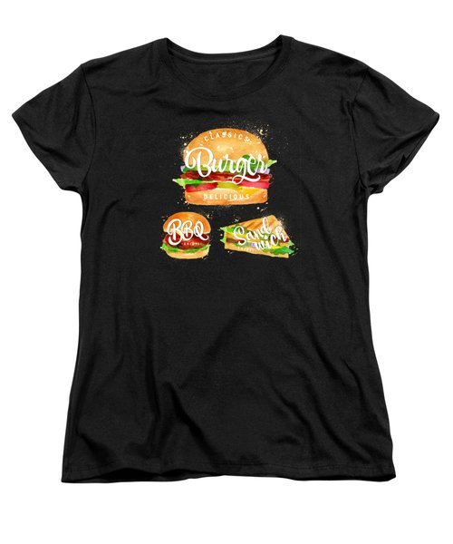 Black Burger Women's T-Shirt (Standard Cut) by Aloke Design