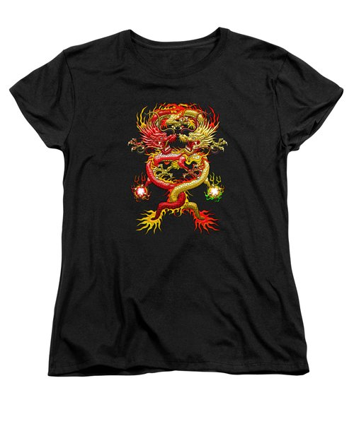 Brotherhood Of The Snake - The Red And The Yellow Dragons On Red And Black Leather Women's T-Shirt (Standard Cut) by Serge Averbukh