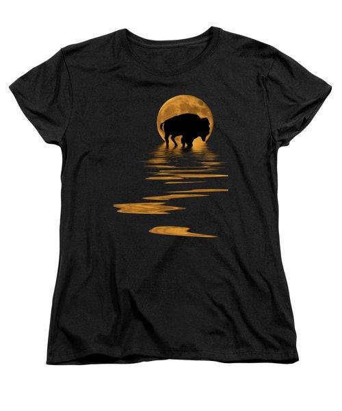 Buffalo In The Moonlight Women's T-Shirt (Standard Cut) by Shane Bechler