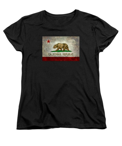 California Republic State Flag Retro Style Women's T-Shirt (Standard Cut) by Bruce Stanfield