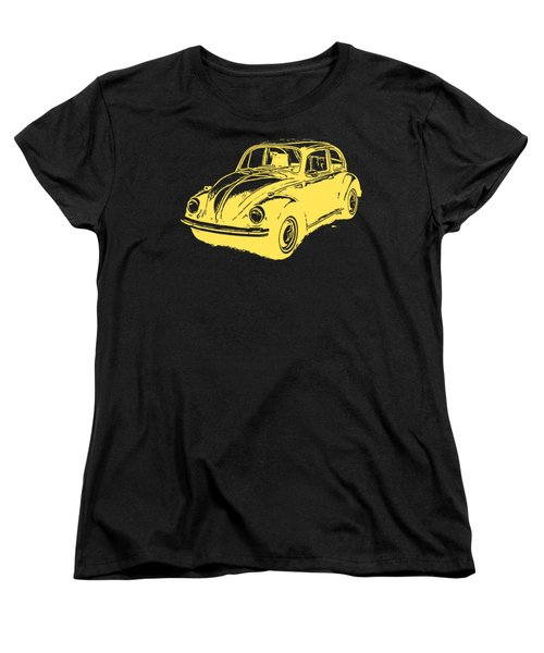 Classic Vw Beetle Tee Yellow Ink Women's T-Shirt (Standard Cut) by Edward Fielding