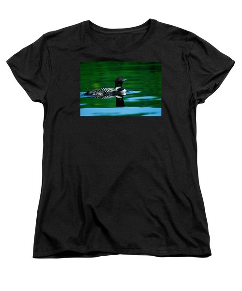 Common Loon In Water, Michigan, Usa Women's T-Shirt (Standard Cut) by Panoramic Images