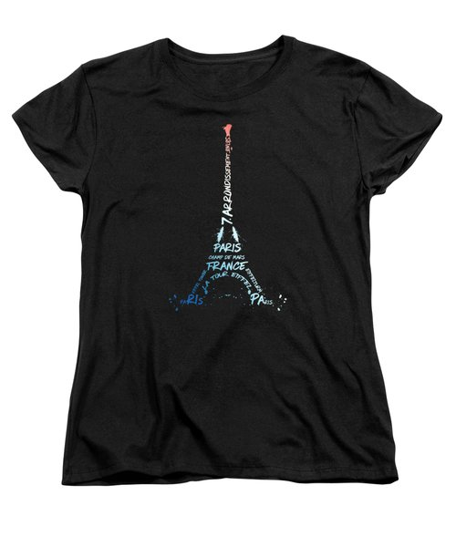 Digital-art Eiffel Tower National Colours Women's T-Shirt (Standard Cut) by Melanie Viola