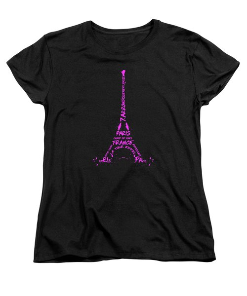 Digital-art Eiffel Tower Pink Women's T-Shirt (Standard Cut) by Melanie Viola
