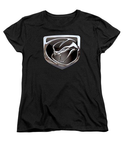 Dodge Viper - 3d Badge On Black Women's T-Shirt (Standard Cut) by Serge Averbukh
