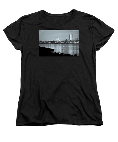 Downtown Tulsa Oklahoma - University Tower View - Black And White Women's T-Shirt (Standard Cut) by Gregory Ballos