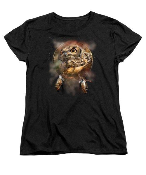 Dream Catcher - Spirit Of The Owl Women's T-Shirt (Standard Cut) by Carol Cavalaris