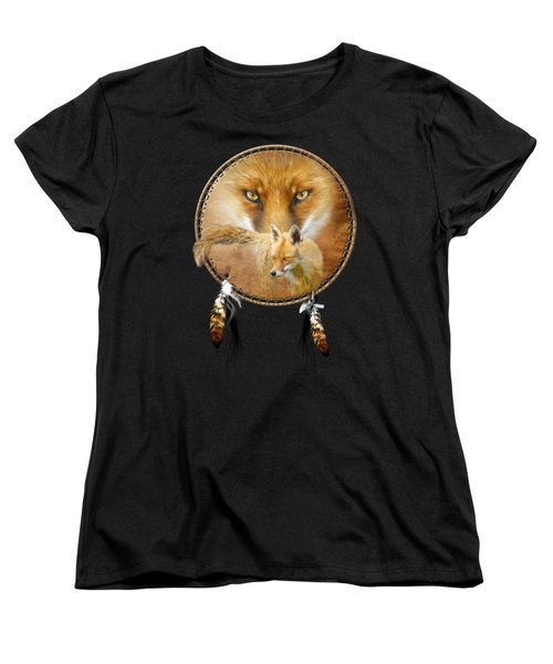 Dream Catcher- Spirit Of The Red Fox Women's T-Shirt (Standard Cut) by Carol Cavalaris