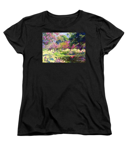 Echoes From Heaven, Spring Orchard Blossom And Pheasant Women's T-Shirt (Standard Cut) by Jane Small