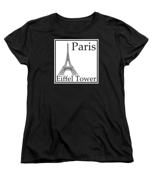 Eiffel Tower In White Women's T-Shirt (Standard Cut) by Custom Home Fashions