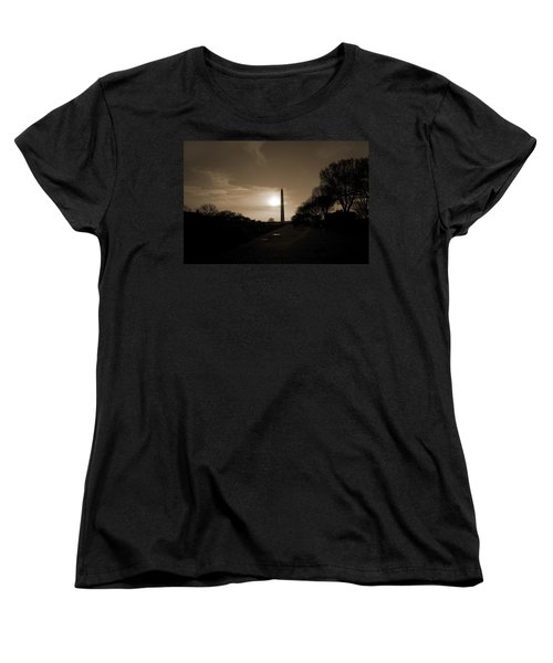 Evening Washington Monument Silhouette Women's T-Shirt (Standard Cut) by Betsy Knapp