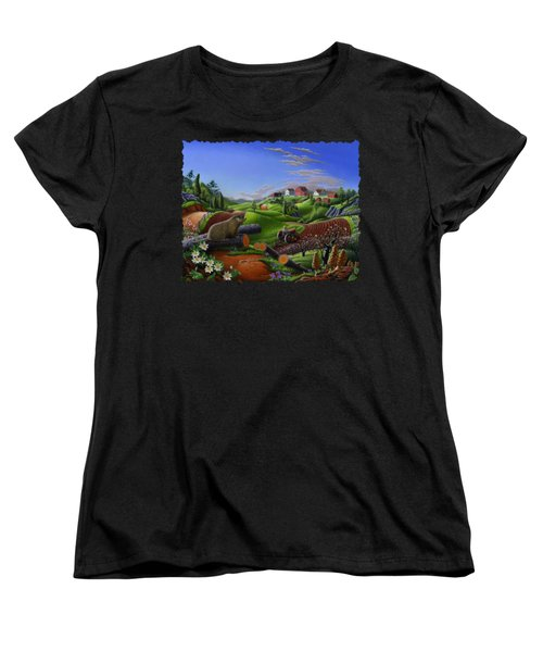 Farm Folk Art - Groundhog Spring Appalachia Landscape - Rural Country Americana - Woodchuck Women's T-Shirt (Standard Cut) by Walt Curlee