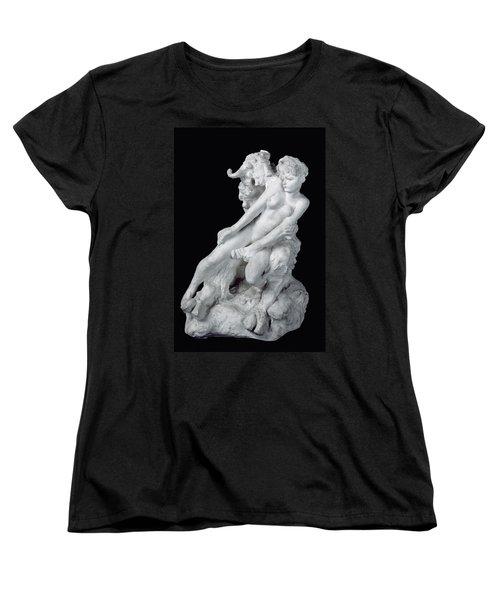 Faun And Nymph Women's T-Shirt (Standard Cut) by Auguste Rodin