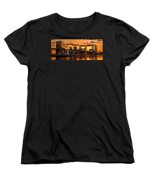 Fiery Sunset Over Manhattan  Women's T-Shirt (Standard Cut) by Az Jackson