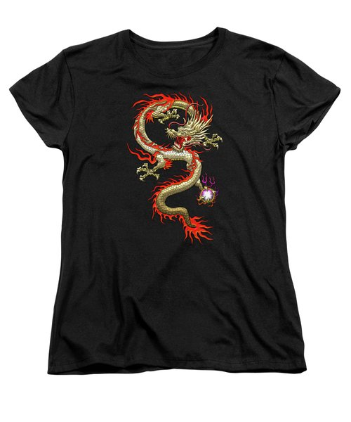 Golden Chinese Dragon Fucanglong On Black Silk Women's T-Shirt (Standard Cut) by Serge Averbukh