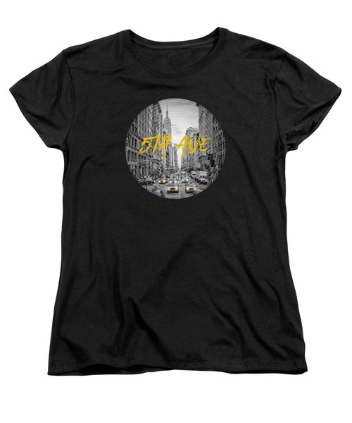 Graphic Art Nyc 5th Avenue Yellow Cabs Women's T-Shirt (Standard Cut) by Melanie Viola