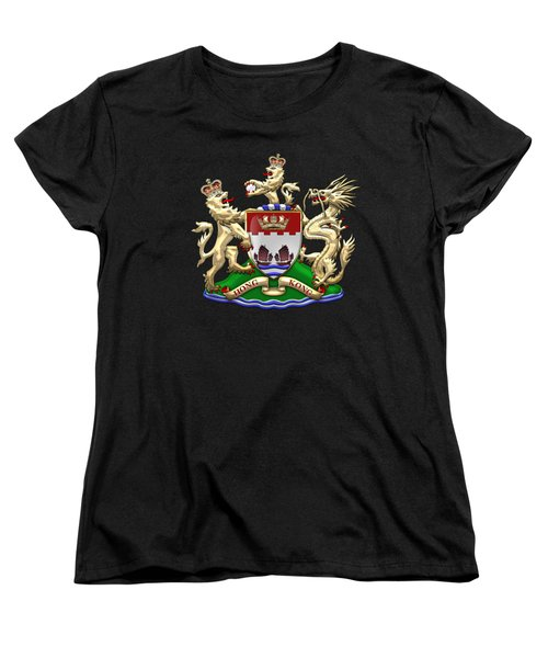 Hong Kong - 1959-1997 Coat Of Arms Over Black Leather  Women's T-Shirt (Standard Cut) by Serge Averbukh