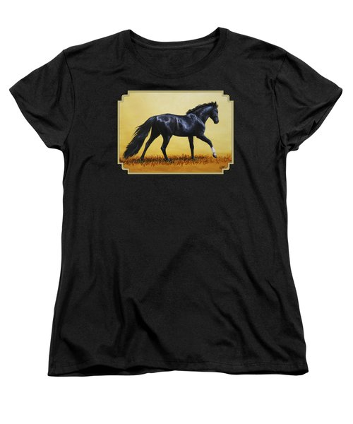 Horse Painting - Black Beauty Women's T-Shirt (Standard Cut) by Crista Forest