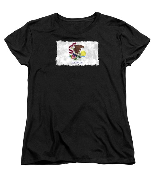 Illinois Flag Women's T-Shirt (Standard Cut) by World Art Prints And Designs
