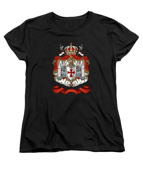 Knights Templar - Coat Of Arms Over Black Velvet Women's T-Shirt (Standard Cut) by Serge Averbukh