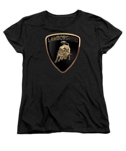 Lamborghini - 3d Badge On Black Women's T-Shirt (Standard Cut) by Serge Averbukh