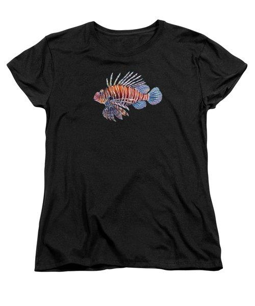 Lionfish In Black Women's T-Shirt (Standard Cut) by Hailey E Herrera