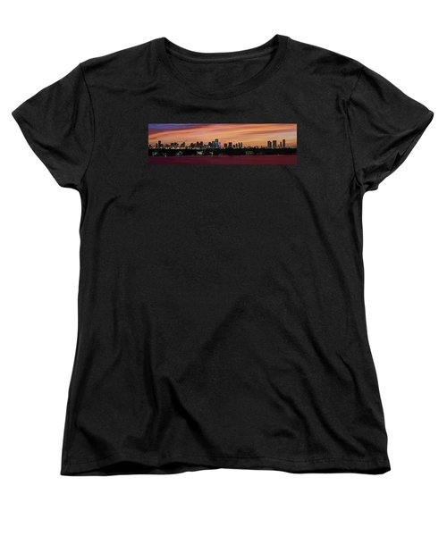 Miami Sunset Panorama Women's T-Shirt (Standard Cut) by Gary Dean Mercer Clark