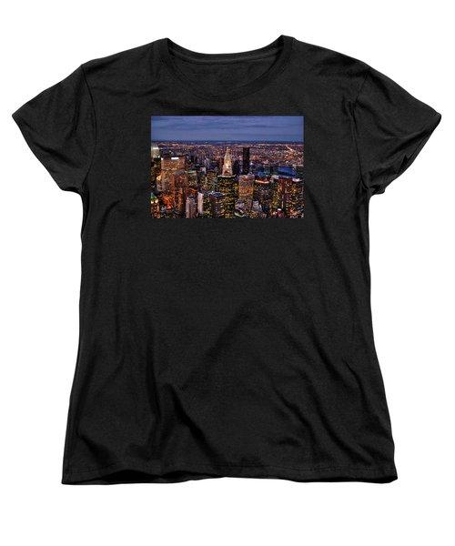 Midtown Skyline At Dusk Women's T-Shirt (Standard Cut) by Randy Aveille