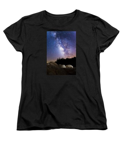 Milky Way Over A Western Diamondback Rattlesnake Women's T-Shirt (Standard Cut) by Chuck Brown