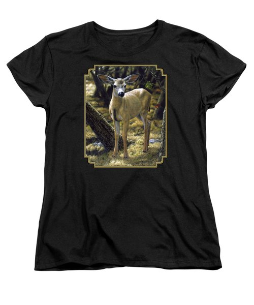 Mule Deer Fawn - Monarch Moment Women's T-Shirt (Standard Cut) by Crista Forest