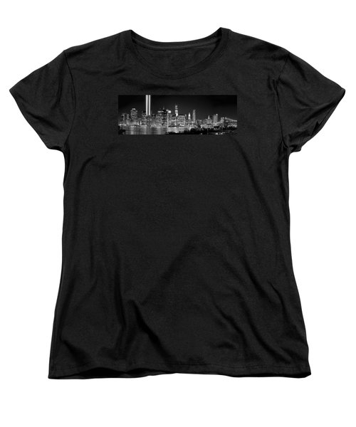 New York City Bw Tribute In Lights And Lower Manhattan At Night Black And White Nyc Women's T-Shirt (Standard Cut) by Jon Holiday