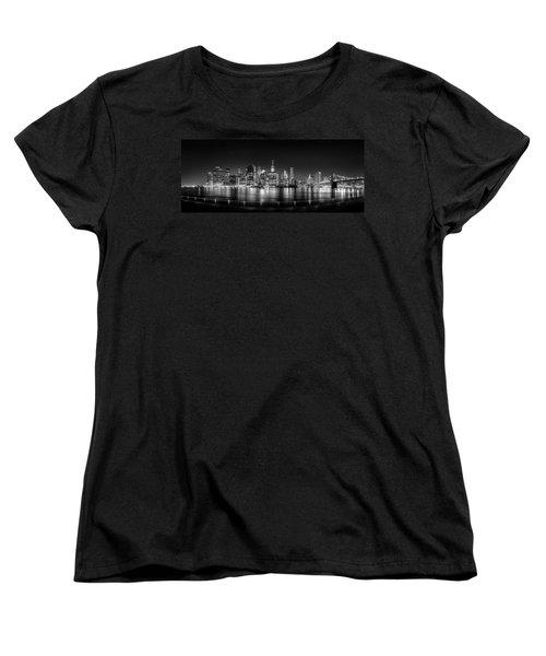 New York City Skyline Panorama At Night Bw Women's T-Shirt (Standard Cut) by Az Jackson